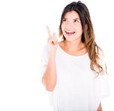 Woman pointing an idea Stock Images