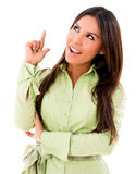 Woman pointing an idea Royalty Free Stock Photos