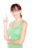 Woman Pointing With Index Finger Stock Image