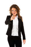 Woman pointing isolated on white background Royalty Free Stock Photo