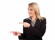 Woman pointing left Royalty Free Stock Photo