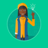 Woman pointing at light bulb vector illustration. Stock Photo