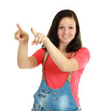 Woman pointing and looking surprised Royalty Free Stock Images