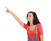 Woman pointing and looking surprised Stock Photos