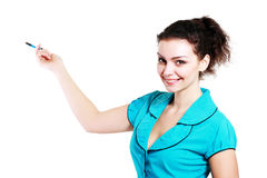 Woman pointing and making a presentation Stock Photos