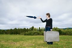 Woman pointing on the meadow Stock Images