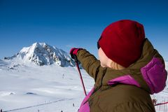 Woman pointing mountains royalty free stock photo