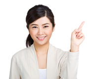 Woman pointing one Stock Photos