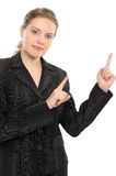 Woman pointing out with finger Stock Photos