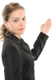 Woman pointing out with hand Stock Photos