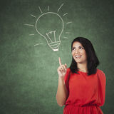 Woman pointing at a picture of lamp Royalty Free Stock Image