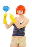 Woman pointing at plunger Stock Images
