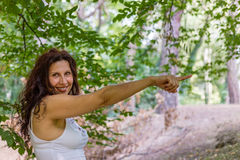 Woman pointing royalty free stock image
