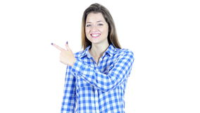 Woman Pointing Showing Product Aside , White Background,Young,,,,