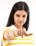 Woman in pointing someone action Royalty Free Stock Images