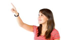 Woman pointing at something Stock Photos
