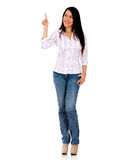 Woman pointing something Stock Images