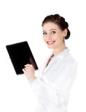 Woman pointing at tablet. Royalty Free Stock Image
