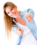 Woman pointing to the camera Stock Image