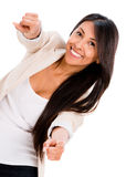 Woman pointing to the camera Stock Photography