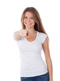 Woman pointing to the front Stock Photos