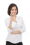 Woman pointing to the front Royalty Free Stock Photos