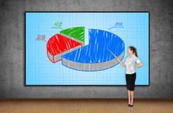 Woman pointing to pie chart Royalty Free Stock Images