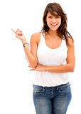 Woman pointing to the side Royalty Free Stock Image
