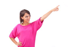 Woman pointing to the side against Stock Images