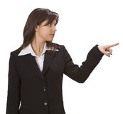 Woman pointing to something Stock Photos