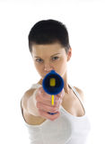 Woman pointing toy gun Royalty Free Stock Photo