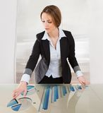 Woman Pointing On Transparent Screen Stock Image