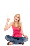 Woman pointing up Royalty Free Stock Photography