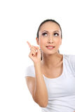 Woman pointing up Stock Photos