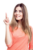 Woman pointing up Royalty Free Stock Image