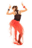 Woman pointing up in dance Royalty Free Stock Photo