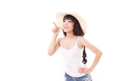 Woman pointing up, looking up, white isolated Royalty Free Stock Images