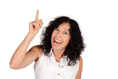 Woman pointing up. Royalty Free Stock Photography