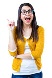 Woman pointing up Royalty Free Stock Images