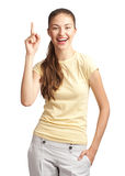 Woman pointing up and smiling Stock Photography
