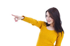 Woman pointing on you Stock Photos