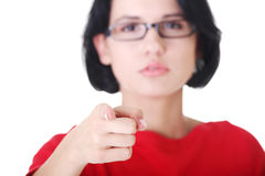 Woman pointing on you Royalty Free Stock Photos