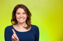 Woman pointing at you camera gesture, pushing button, Stock Photography