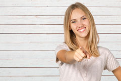Woman pointing at you Royalty Free Stock Photo
