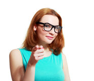 Woman pointing at you Stock Images
