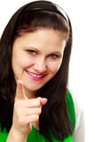 Woman points with finger Royalty Free Stock Image