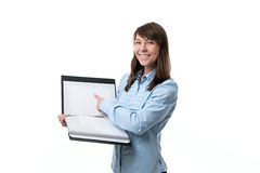 Woman points a finger at files Royalty Free Stock Image