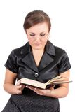 Woman in points reads the book, isolated. Royalty Free Stock Images