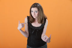 Woman Points to Herself Stock Photography