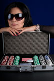 Woman with Poker Set Royalty Free Stock Photos